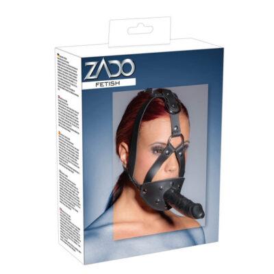 Zado Læder Harness med dildo til ansigt