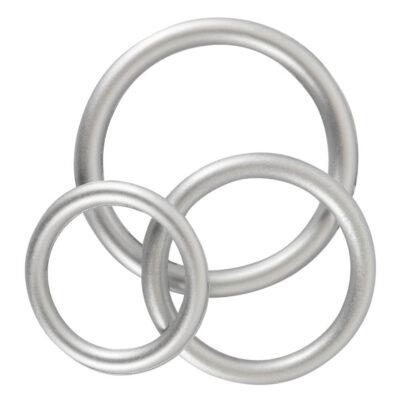 Metallic Silikone Penis Ring Sæt