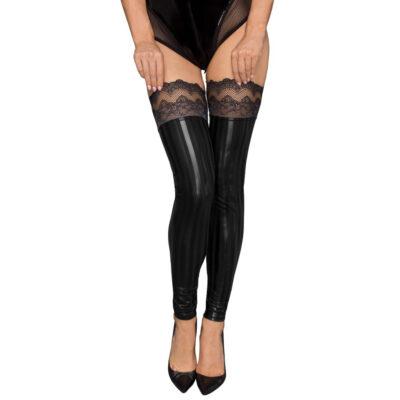 Noir Lace Wet-Look Selvsiddende blondestrømper