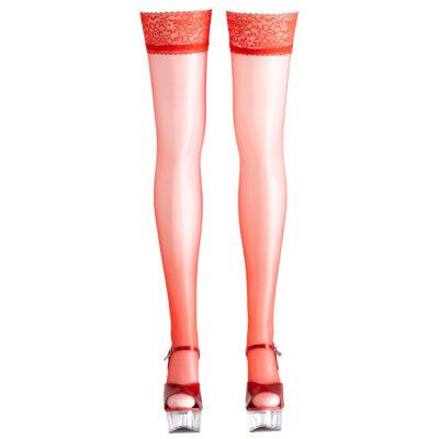 Selvsiddende strømper med flot blondekant - rød eller hvid