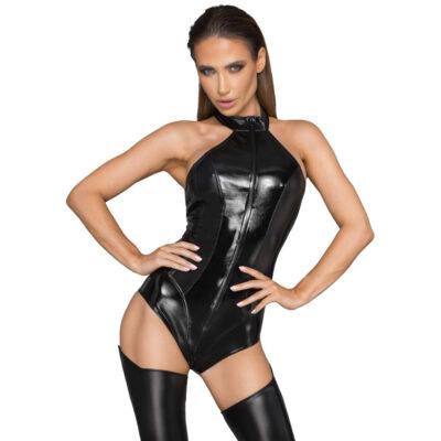 Noir Wet-Look bodystocking