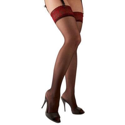 Cottelli Strømper til hofteholder med Rød Blondekant