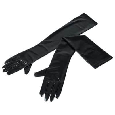 Cottelli Collection Wet-Look Handsker Sort