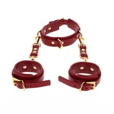 Taboom D-ring krave og håndledsmanchetter Rød